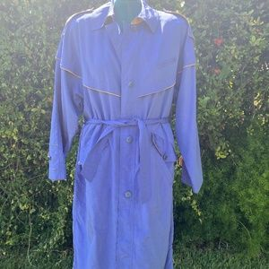 Vintage 80's trench in beautiful periwinkle and yellow Size 14 (halloween DIY)